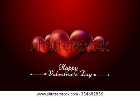 Postcard  Valentine's Day on black and red background with heart and text - stock vector