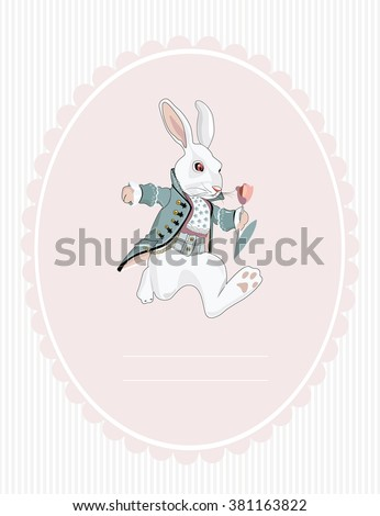 postcard white rabbit from Alice in Wonderland - stock vector