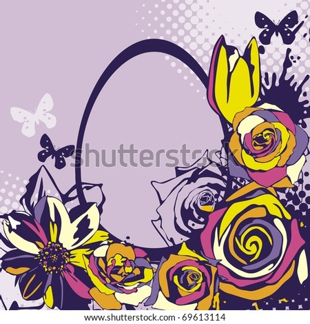 Postcard with beautiful Easter egg on violet background. Vector illustration.