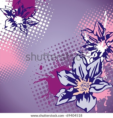 postcard with beautiful flowers on violet background. Vector illustration