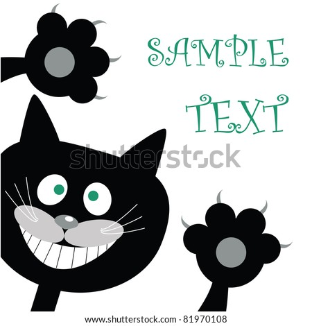 Postcard with black cat - stock vector