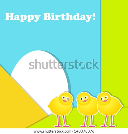 postcard with chicks - stock vector