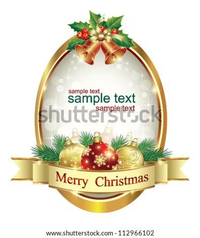 postcard with christmas balls - stock vector