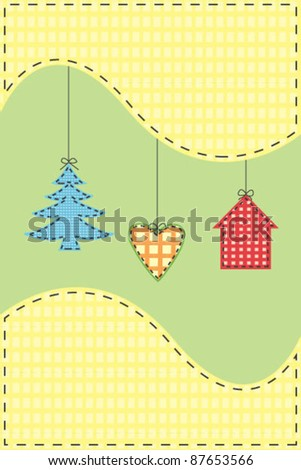 Postcard with christmas tree, heart and house shapes - stock vector