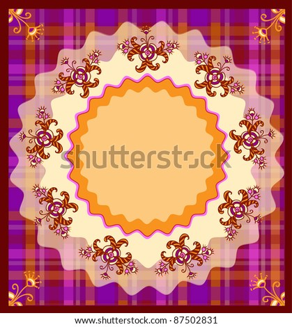 postcard with decorative flowers - stock vector