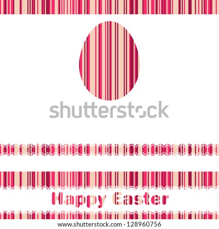 Postcard with Easter egg on colorful background. And also includes EPS 8 vector - stock vector