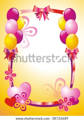 Postcard with flowers and balloon - stock vector