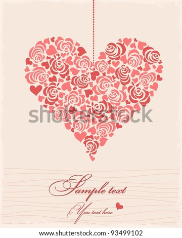 Postcard with heart - stock vector