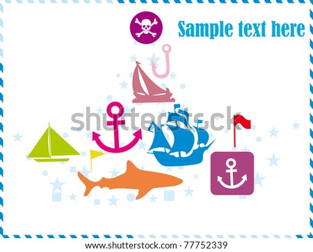 Postcard with pirates set - stock vector