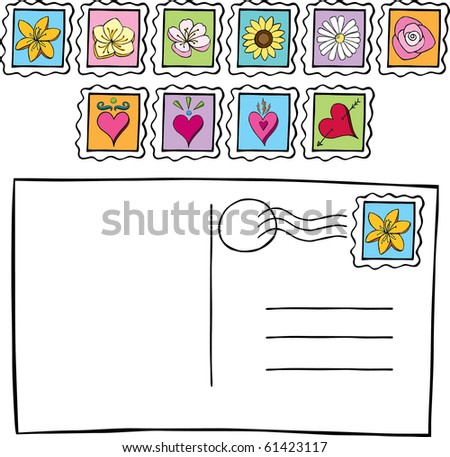 Postcard with Postage Stamps Doodle - stock vector