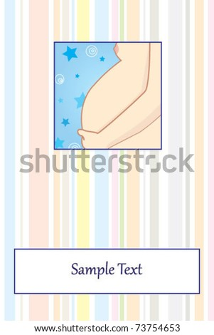 Postcard with pregnant woman's silhouette - stock vector