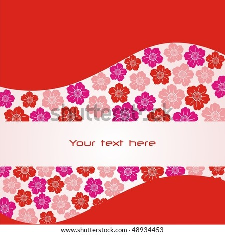 Postcard with red and pink flowers. Vector illustration.