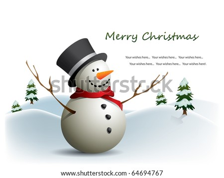 Postcard with snowman - stock vector