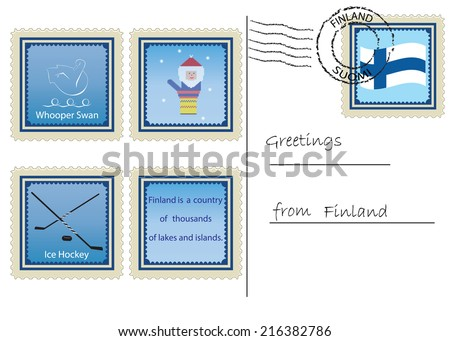 Postcard with some features of Finland presented in the form of postage stamps - stock vector