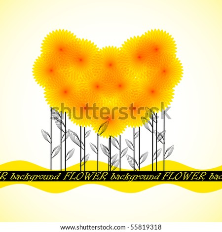 Postcards from the dandelions in the form of the heart. Vector format 10 eps