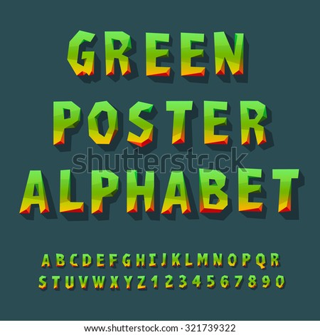 Poster alphabet and numbers, vector illustration. - stock vector