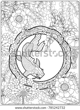 poster background decorative flowers carp fish stock vector