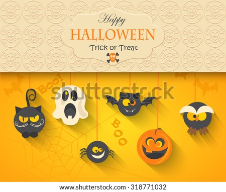 Poster, banner or background for Halloween Party Night, vector illustration. - stock vector