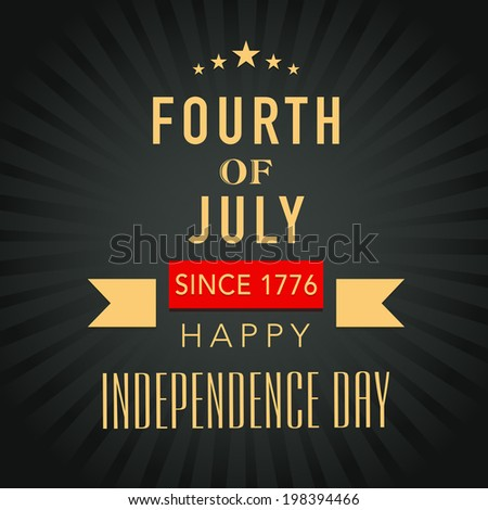 Poster, banner or flyer design with golden text Fourth of July on grey rays background for American Independence Day celebrations.  - stock vector