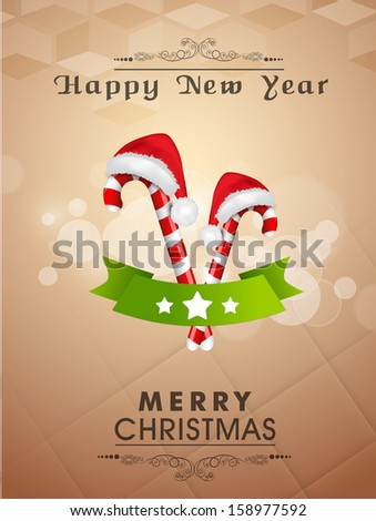 Poster, banner or flyer design with shiny Santa cap and cane for Merry Christmas & Happy New Year parties and night celebrations.  - stock vector