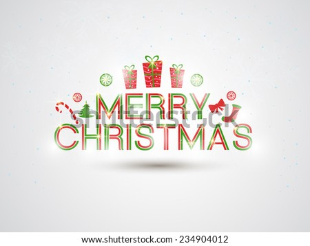 Poster, banner or flyer for Merry Christmas celebrations with X-mas ornaments on shiny grey background. - stock vector