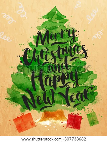 Poster Christmas tree lettering Merry Christmas and Happy New Year drawing in vintage style on kraft paper - stock vector