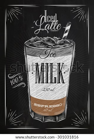 Poster coffee iced latte in vintage style drawing with chalk on the blackboard - stock vector