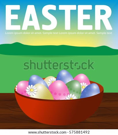 Poster Easter Eggs In A Plate On A Wooden Table. Bunny Peeps. Background  Field