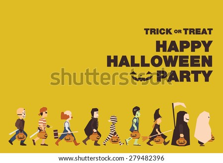 Poster, Flat banner or background for Halloween Party Night.Jason, Pirate, Clown, Dracula, Mummy, Frankenstein, Witch, Messenger of death, Spooky design - stock vector