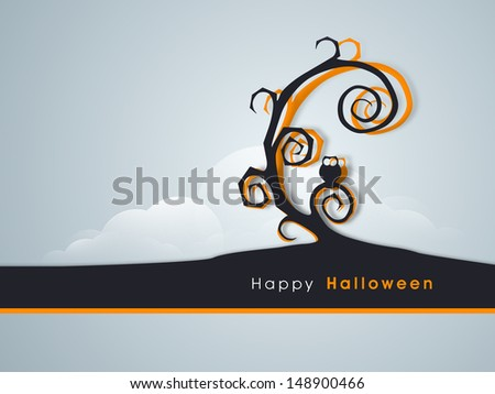 Poster, flyer, banner or background with dead tree and owl for Happy Halloween party.  - stock vector