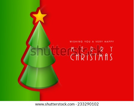Poster for Merry Christmas celebration with stylish X-mas tree decorated with star on red and green background. - stock vector