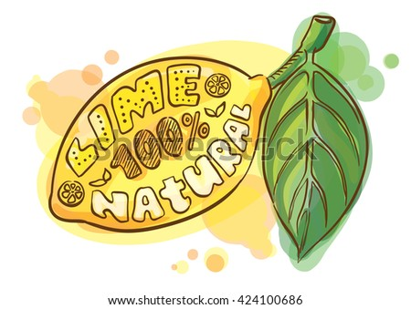 Poster Lemon with leaf lettering on a white background