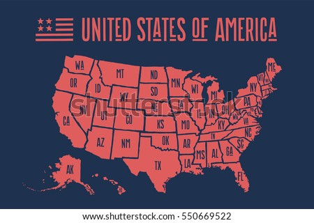 poster map of united states of america with state names print map of usa for
