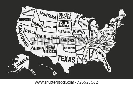 Poster Map Of Usa With State Names United States Of America Map American Background