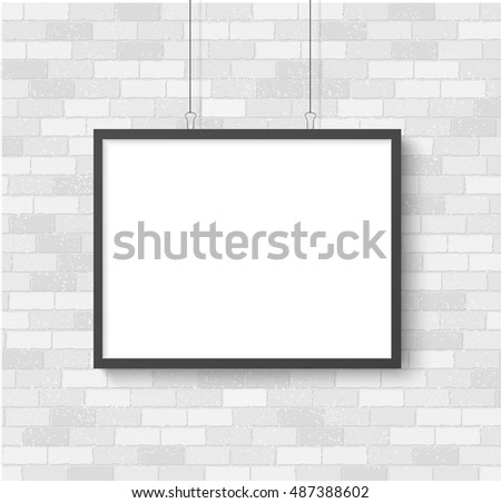 Poster mockup on white brick wall