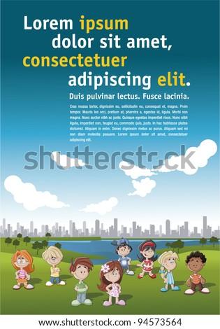 Poster of children in the city park - stock vector