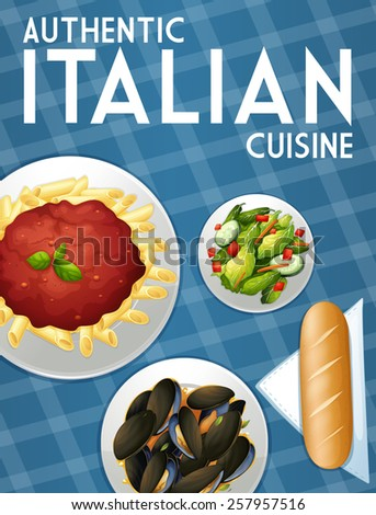 Poster of many dishes of Italian food - stock vector