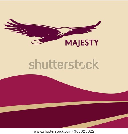 Poster of red wine cherry eagle, painted with a brush. Silhouettes of bird of prey soaring in the sky. The logo, a symbol of greatness, victory and freedom. Eagle on colorful background. - stock vector