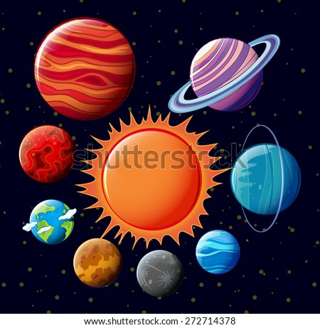 Poster of solar system with stars