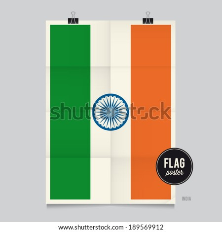 Poster of the India flag. Vintage folds and shadows effects are editable thanks to different layers. - stock vector
