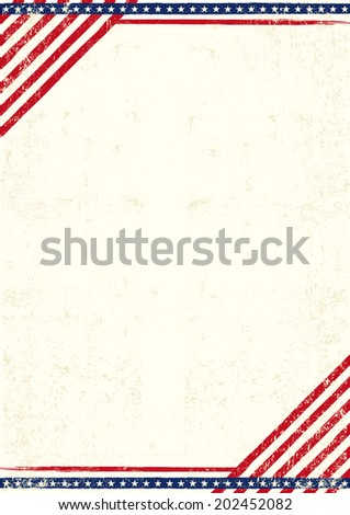 Poster of US. An american poster with a large empty space for your text - stock vector