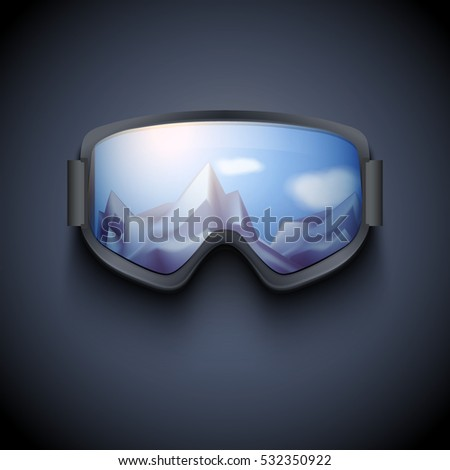 Poster of Winter goggles with big glass and reflecting the snowy mountains. Ski and snowboard sport and recreational. Vector isolated on dark background