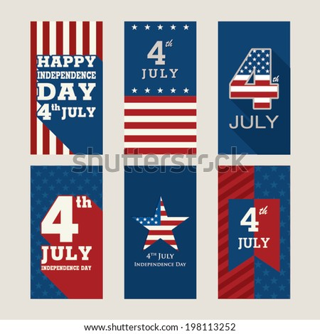 Poster or Card for 4th of July Independence Day. Retro Style. - stock vector