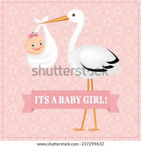 Poster Stork With Baby Girl With Gradient Mesh, Vector Illustration - stock vector