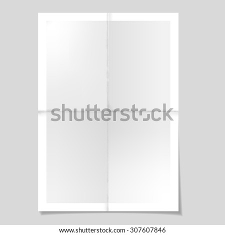 Poster template. Folded paper sheet. Vector illustration. - stock vector
