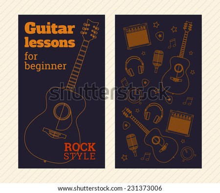 Poster template on guitar lessons. Pattern of musical accessories. - stock vector