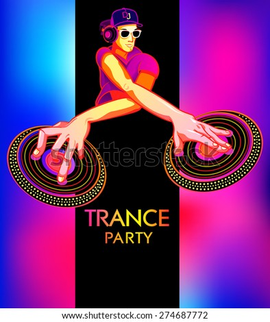 Poster template with club dj for trance party - stock vector