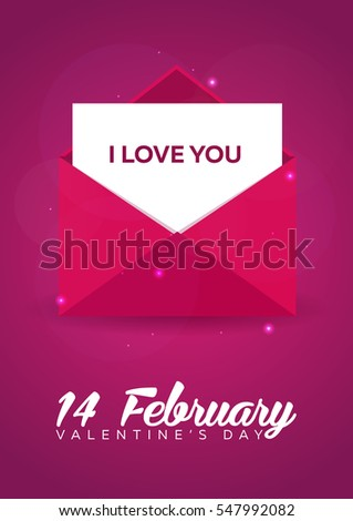 poster valentines day flat pink envelope on pink background vector illustration - Valentine Poster