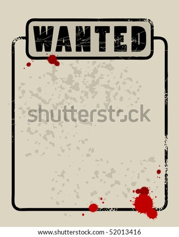 Poster wanted, vector illustration - stock vector