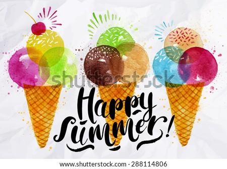 Poster watercolor ice cream cones different colors lettering happy summer drawing on crumpled paper - stock vector